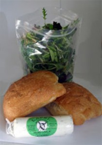 Baby Greens Salad with Olga's bread and Westfield Goat Cheese
